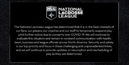 MEDIA ADVISORY: National Lacrosse League Statement and Update on Game Play 3/12/2020
